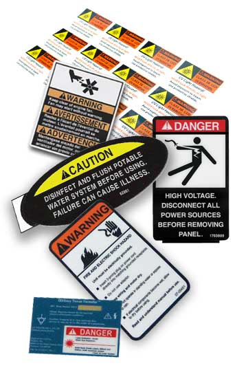 warning labels, warning stickers, warning decals